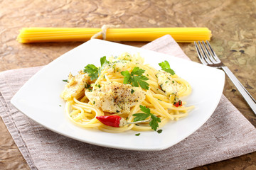 Pasta with fresh mullet, parsley and pepper