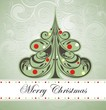 Vintage Christmas card with tree and ornaments