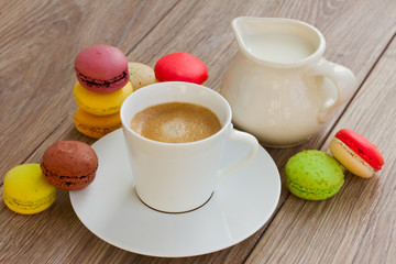 macaroons and coffee cup