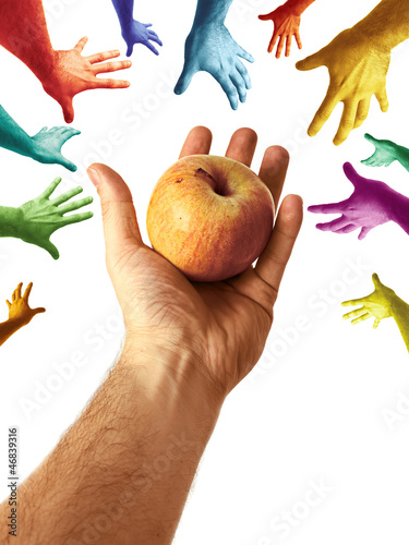 Hand Sharing Juicy Nutritious Apple to Community Multicolor