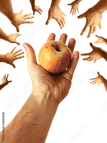 Hand Sharing Juicy Nutritious Apple to Community