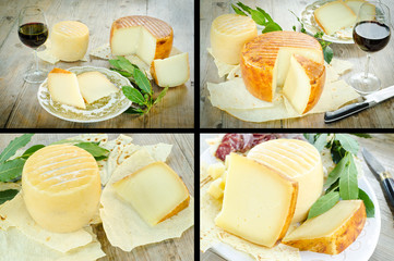 Pecorino sardo collage, traditional cheese from Sardinia