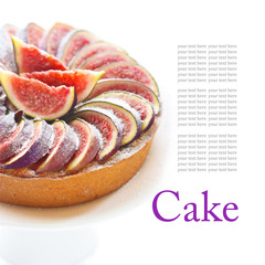 Delicious cake with cream and fresh figs.