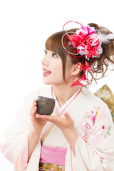 Beautiful japanese kimono woman on white background