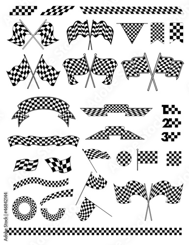 checkered flag vector - 46842144