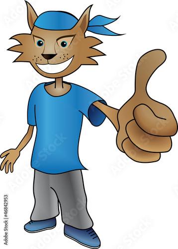 Mascotte de lynx / chat , validation avec le pouce levé