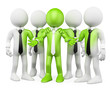 3D white people. Green teamwork