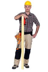 Craftsman with wood lath