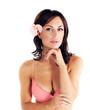 Girl wearing pink bra