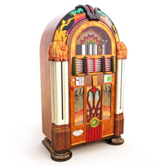 Retro vintage jukebox on a white background