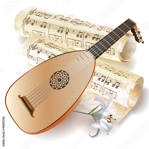 Late Baroque era lute in retro style