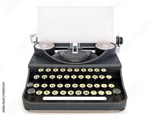 Retro vintage typewriter with paper, room for text