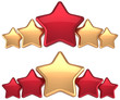 Five stars service gold red golden leadership success decoration