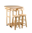 Folding and movable wooden table with drawers and stools