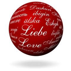 das Wort Liebe in verschieden Sprachen
