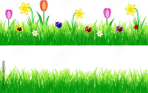 Frühling Gras Blumen Set