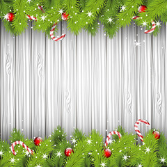 Christmas wooden background with place for text