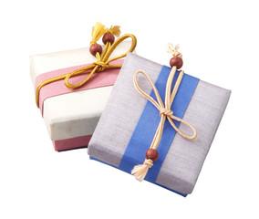 Beautiful gift box made of silk for giving season.
