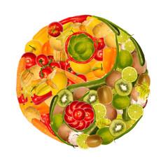Yin Yang aus Gemüse und Früchten