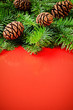 Branches of Christmas tree with pine cones on festive red backgr