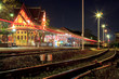 HuaHin railway station at night, Thailand
