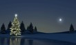 Leinwanddruck Bild - Winterlandschft am See