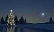 Leinwandbild Motiv Winterlandschft am See