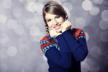 Lovely girl in sweater.