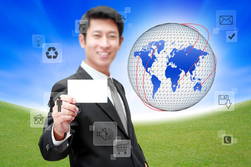 Businessman with Social network and communication