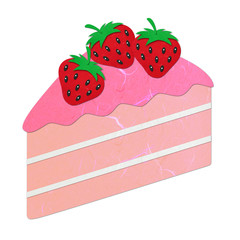 Rice paper cut pink strawberry cake