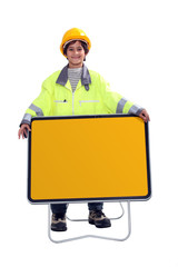 Young boy dressed as a construction worker
