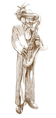 sax player, old man - hand drawing