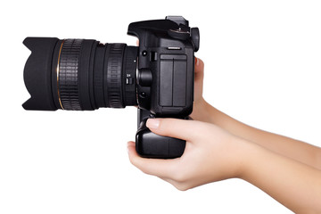 camera in hand isolated
