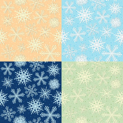 Snoflakes, seamless pattern on four colors