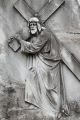 Christ Carrying the Cross - antique relief