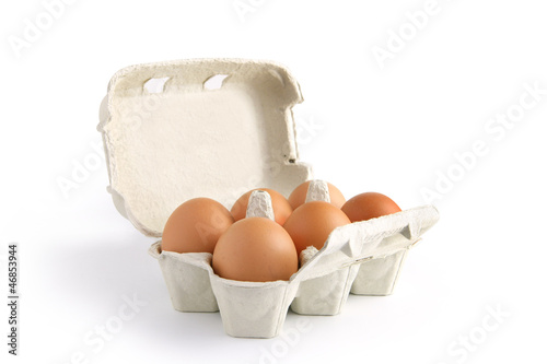 Six eggs in a box