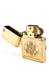 Golden lighter with carved United States seal