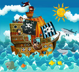 Fototapety The pirates on the sea - illustration for the children