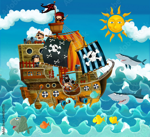 In de dag Piraten The pirates on the sea - illustration for the children