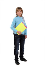 Schoolboy holding folders