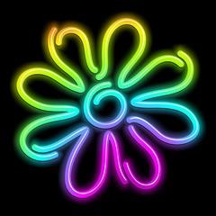 Flower Daisy Psychedelic Neon Light-Fiore Psichedelico Luminoso