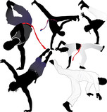 Capoeira fighter or breakdancer vector silhouettes