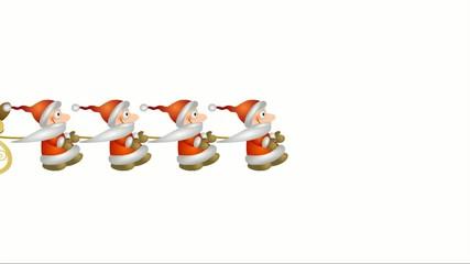 Weihnachtsmänner ziehen Schlitten mit Rentier – freigestellt