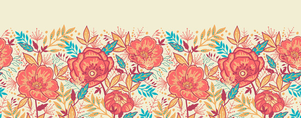 Vector Bright Garden Flowers Horizontal Seamless Pattern