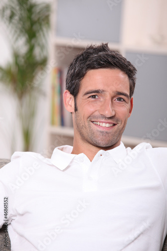 Portrait of a man relaxing at home