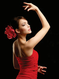 Fototapety Portrait of beautiful woman , isolated on black background
