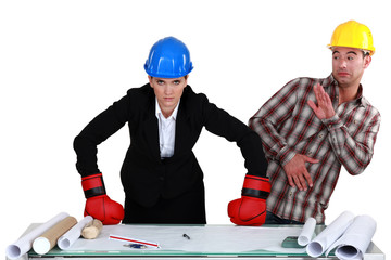 Fight between architect and builder