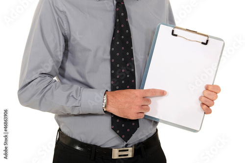 Man pointing at blank clip-board