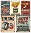 Vintage car metal signs and posters