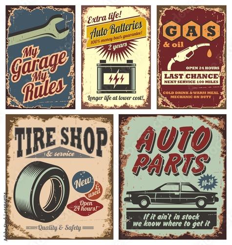 Oldtimer-Metall-Schilder und Poster